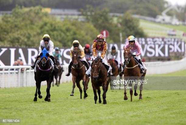 Charlotte Hogg riding Pearl Noir and Aly Vance riding The Winning Lines in The Magnolia Cup Ladies' Charity Race 'Ladies Day' at 'Glorious Goodwood'...