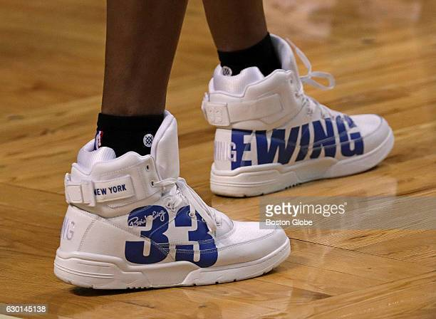 Charlotte Hornets associate head coach Patrick Ewing also a Cambridge Rindge and Latin alumnus and Hall of Fame player sports his own brand sneakers...