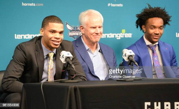 b290f81f1 Charlotte Hornets first and second round draft picks Miles Bridges left and  Devonte  Graham right