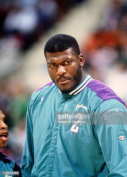 Charlotte Hornets forward Larry Johnson shows his game face prior to a game against the Boston Celtics Hartford CT 1989