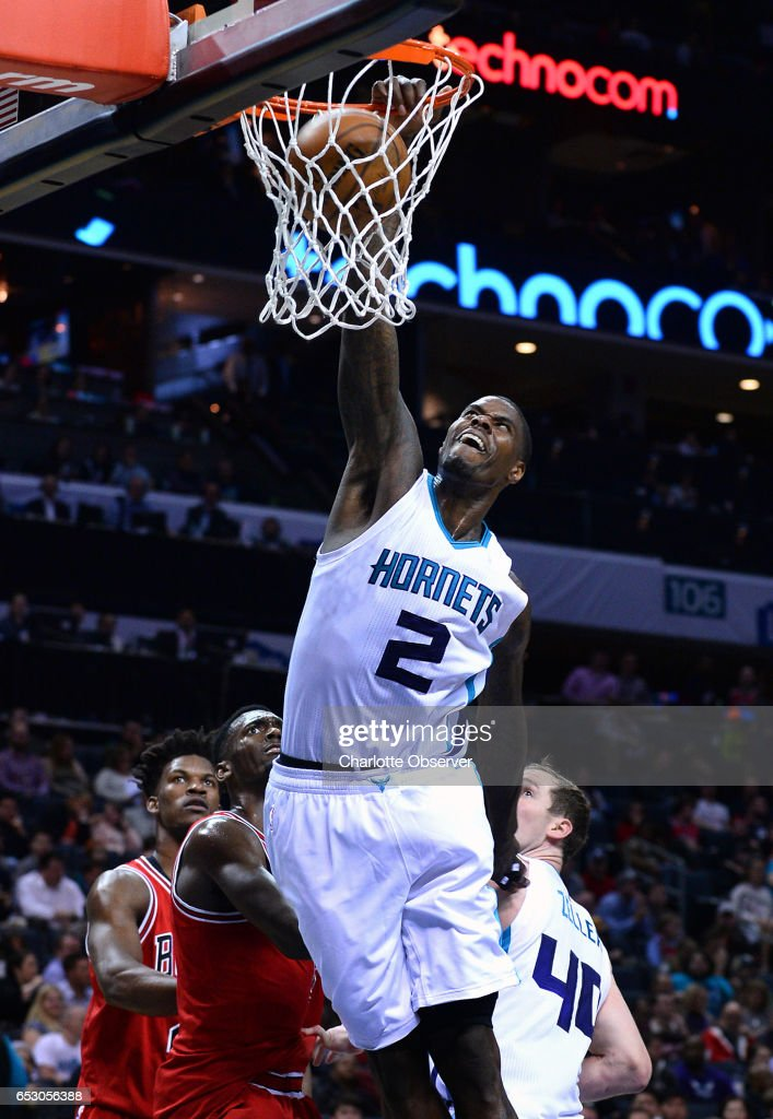 Charlotte Hornets forward Marvin Williams throws down a one-handed dunk against the Chicago Bulls during second half action on Monday, March 13, 2017 at the Spectrum Center in Charlotte, N.C. The Bulls defeated the Hornets 115-109.