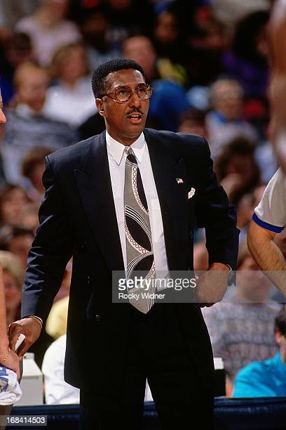 Charlotte Hornets head coach Gene Littles looks on against the Sacramento Kings during a game played on February 27 1991 at Arco Arena in Sacramento...