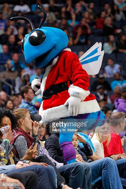 Charlotte Hornets mascot Hugo excites the crowd against the Boston Celtics on December 23 2015 at Time Warner Cable Arena in Charlotte North Carolina...