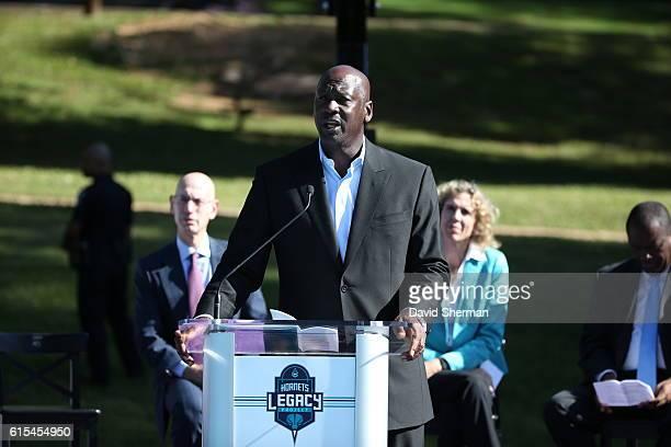 Charlotte Hornets owner Michael Jordan speaks during the Charlotte Hornets Legacy Project Dedication and Jr NBA Clinic on October 18 2016 at Latta...