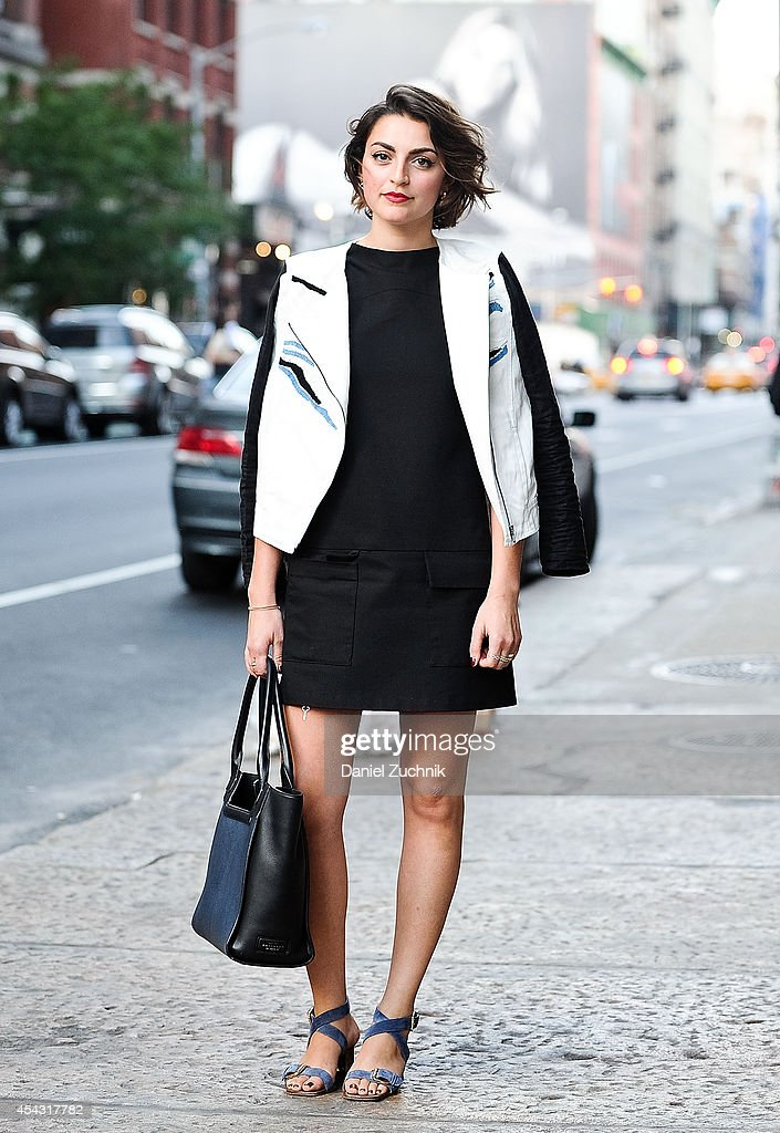 Charlotte is seen around Soho wearing a Tibi jacket and a Zara dress on August 28, 2014 in New York City.