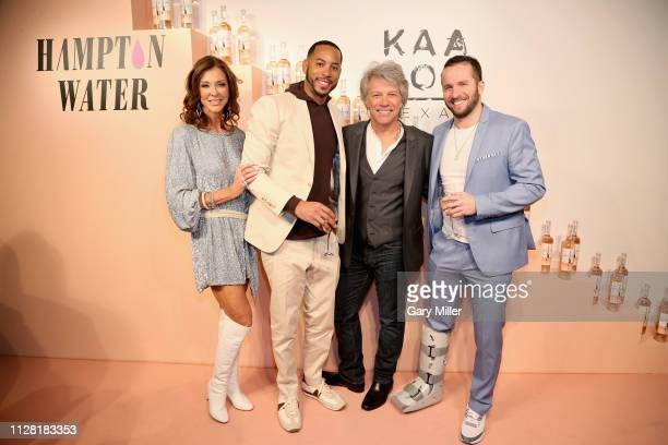 Charlotte Jones Anderson Devin Harris Jon Bon Jovi and JJ Barea attend the KAABOO Texas Welcomes Hampton Water at The Joule Hotel on February 28 2019...