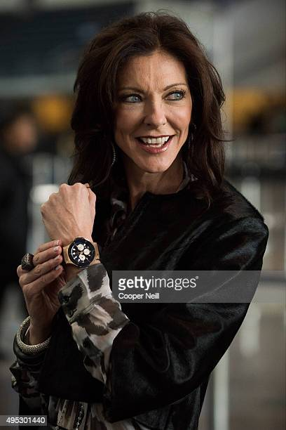 Charlotte Jones Anderson poses for a photo as Hublot unveils the Big Bang Dallas Cowboys timepieces at ATT Stadium on November 1 2015 in Arlington...