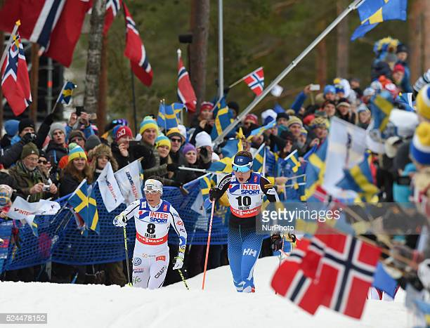 Charlotte Kalla and Kerttu Niskanen during Ladies 30km Mass Start Classic at FIS Nordic World Ski Championship 2015 in Falun