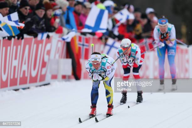 Charlotte Kalla Heidi Weng Kerttu Niskanen compete during the Women's Cross Country 4x5km Relay at the FIS Nordic World Ski Championships on March 2...