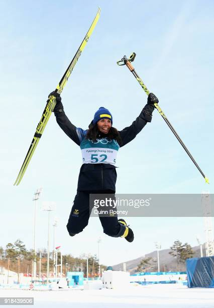 Charlotte Kalla of Sweden celebrates finishing second during the CrossCountry Skiing Ladies' 10 km Free on day six of the PyeongChang 2018 Winter...