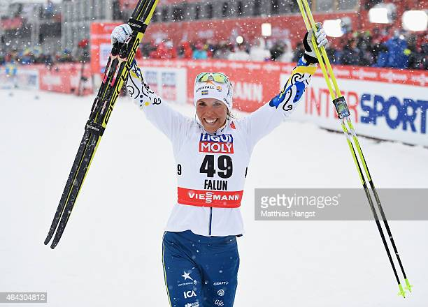Charlotte Kalla of Sweden celebrates winning the gold medal during the Women's 10km CrossCountry during the FIS Nordic World Ski Championships at the...