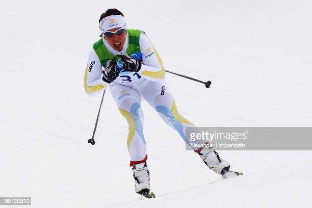 Charlotte Kalla of Sweden competes during the CrossCountry Skiing Ladies' 10 km Free on day 4 of the 2010 Winter Olympics at Whistler Olympic Park...