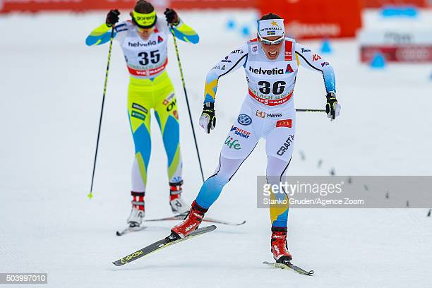 Charlotte Kalla of Sweden competes during the FIS Nordic World Cup Men's and Women's Cross Country Tour de Ski on January 8 2016 in Toblach...