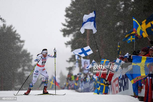 Charlotte Kalla of Sweden competes during the Women's 10km Cross-Country during the FIS Nordic World Ski Championships at the Lugnet venue on...