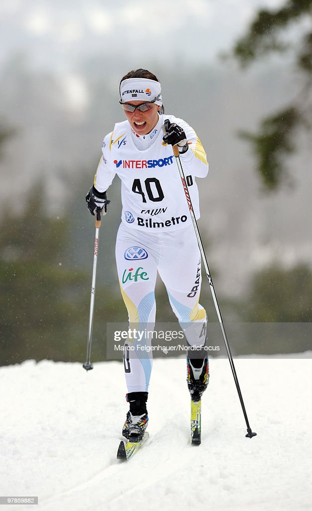 Charlotte Kalla of Sweden competes in the women's 2,5 km Cross Country Skiing during the FIS World Cup on March 19, 2010 in Falun, Sweden.