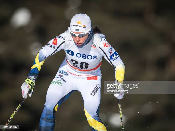 Charlotte Kalla of Sweden during sprint ladies free at Lugnet Stadium on March 16 2018 in Falun Sweden