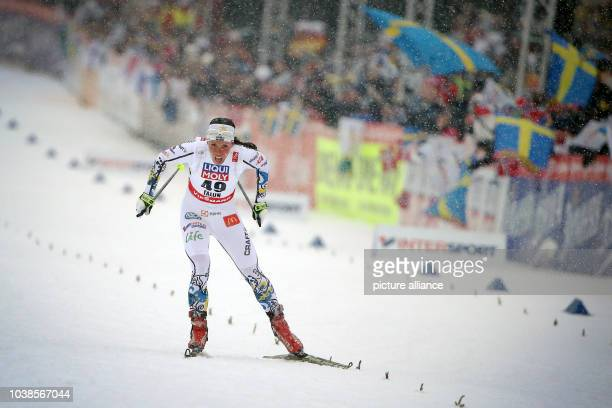 Charlotte Kalla of Sweden getting to the finish line during the cross country Women's 10 km Individual Free competition at the Nordic Skiing World...