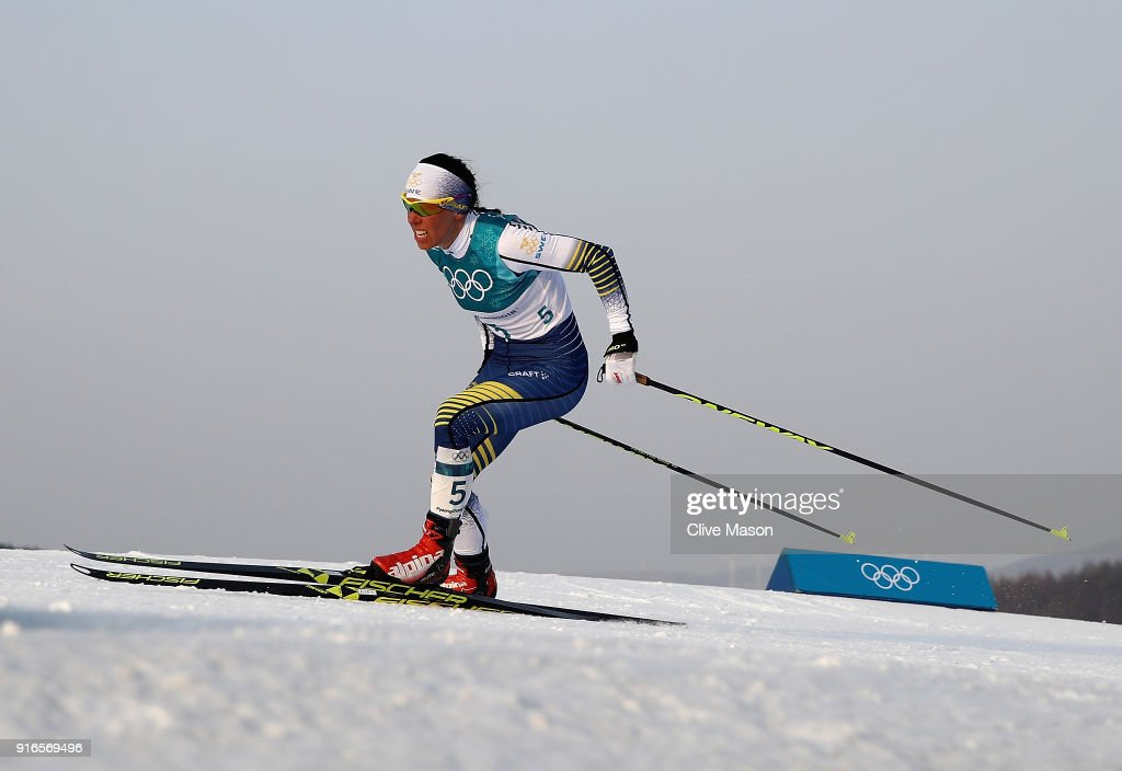 Charlotte Kalla of Sweden in action and on her way to winning the gold medal during the Cross-Country Women's Skiathlon during the Ladies Cross Country Skiing 7.5km + 7.5km Skiathlon on day one of the PyeongChang 2018 Winter Olympic Games at Alpensia Cross-Country Centre on February 10, 2018 in Pyeongchang-gun, South Korea.