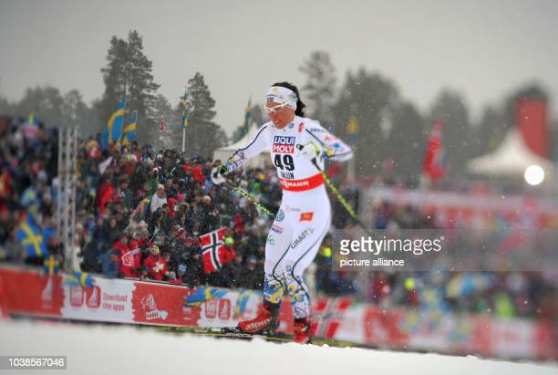 Charlotte Kalla of Sweden in action during the cross country Women's 10km Individual Free competition at the Nordic Skiing World Championships in...