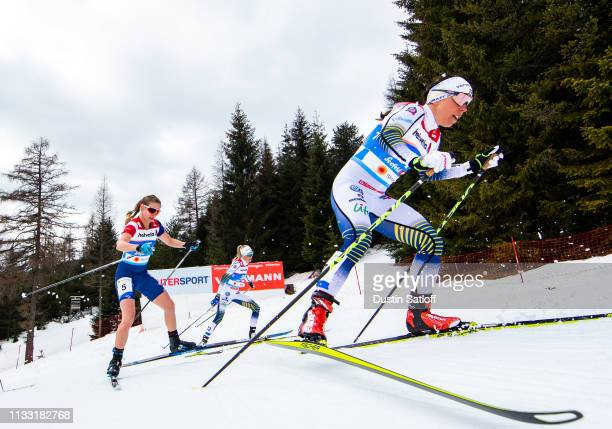 Charlotte Kalla of Sweden Jessica Diggins of the United States and Frida Karlsson of Sweden compete in the Women's 30km Cross Country mass start...
