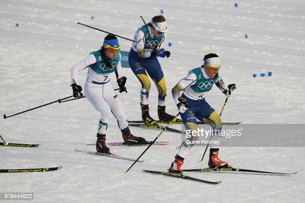 Charlotte Kalla of Sweden Krista Parmakoski of Finland Ebba Andersson of Sweden compete during the Ladies Cross Country Skiing 75km 75km Skiathlon on...