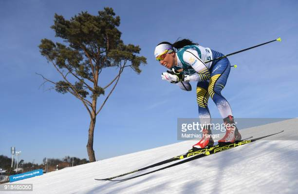 Charlotte Kalla of Sweden skis during the Cross-Country Skiing Ladies' 10 km Free on day six of the PyeongChang 2018 Winter Olympic Games at Alpensia...