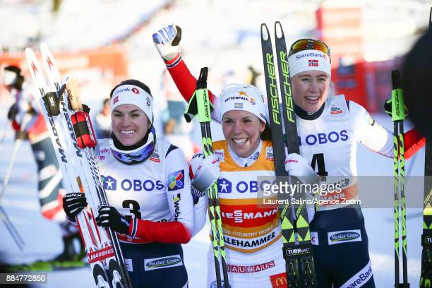 Charlotte Kalla of Sweden takes 1st place Heidi Weng of Norway takes 2nd place Ragnhild Haga of Norway takes 3rd place during the FIS Nordic World...