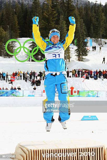 Charlotte Kalla of Sweden wins the gold medal in the CrossCountry Skiing Ladies' 10 km Free on day 4 of the 2010 Winter Olympics at Whistler Olympic...