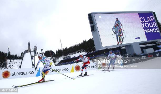 Charlotte Kalla of Sweden wins the silver medal Heidi Weng of Norway wins the gold medal Kerttu Niskanen of Finland wins the bronze medal during the...