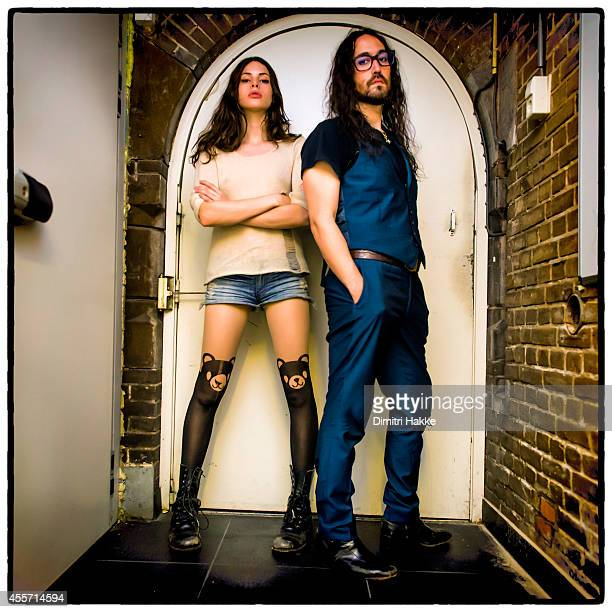 Charlotte Kemp Muhl and Sean Lennon of The Ghost of a Saber Tooth Tiger pose backstage at Rotown on September 12 2014 in Rotterdam Netherlands
