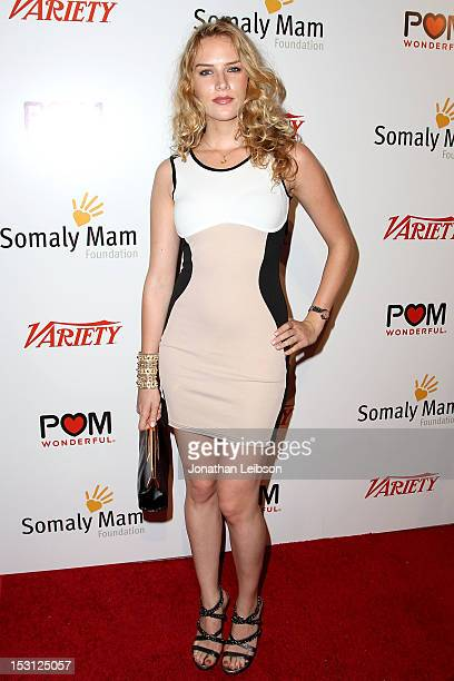 Charlotte Kirk attends the Life Is Love A Red Carpet Cocktail Event Hosted By AnnaLynne McCord Benefiting The Somaly Mam Foundation on September 22...