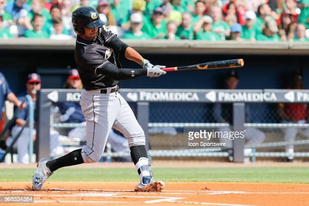 Charlotte Knights shortstop Jose Rondon at bat during a regular season game between the Charlotte Knights and the Toledo Mud Hens on May 17 2018 at...
