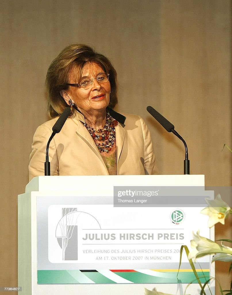 Charlotte Knobloch, President of the Central Board of the Jews in Germany speaks during the ceremony of the Julius-Hirsch-Award by DFB officials at the Jewish community centre on October 17, 2007 in Munich, Germany.