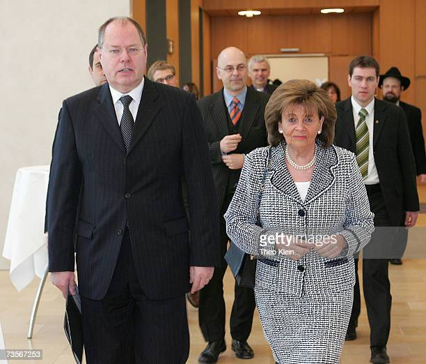 Charlotte Knobloch president of the central council of Jews in Germany and Finance Minister Peer Steinbrueck during the presentation of a special...