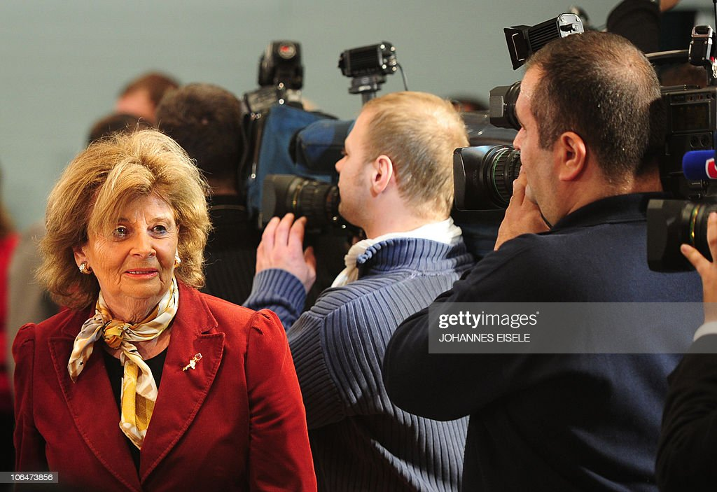 Charlotte Knobloch, President of the Central Council of Jews in Germany, is filmed by cameramen, during the 4th summit on the integration of foreigners in Germany at the Chancellery on November 3, 2010 in Berlin. German Chancellor Angela Merkel and five of her ministers host a regular 'integration' conference amid a fierce immigration row in the country.
