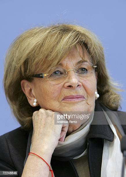 Charlotte Knobloch VicePresident of the World Jewish Congress and head of the Central Council of Jews in Germany adresses the media for a news...