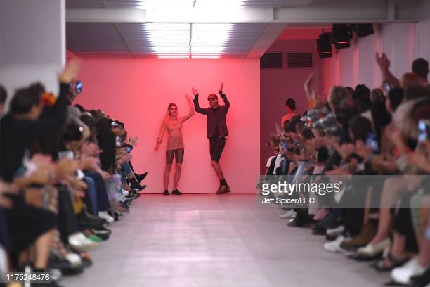 Charlotte Knowles walks the runway at the Charlotte Knowles show during London Fashion Week September 2019 at the BFC Show Space on September 17,...