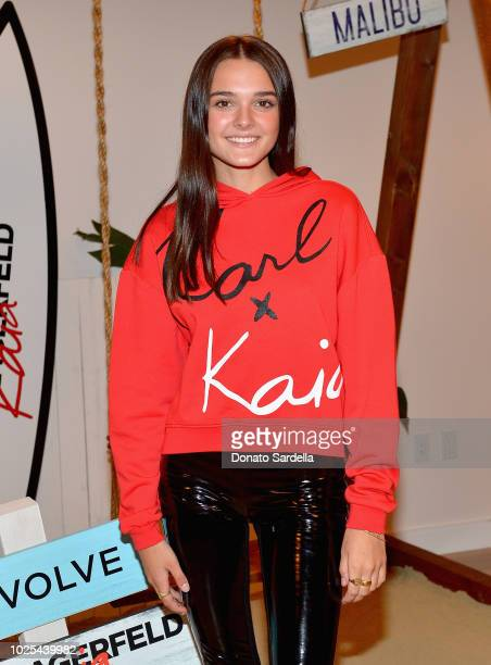 Charlotte Lawrence attends the KARL LAGERFELD x KAIA launch with REVOLVE hosted by Kaia Gerber at Revolve Social Club on August 30 2018 in Los...