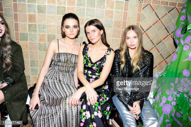 Charlotte Lawrence Jessica Markowski and Elena Matei attend the Cynthia Rowley front row during New York Fashion Week The Shows on February 12 2019...