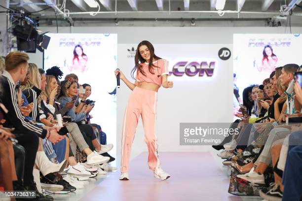 Charlotte Lawrence performs at the JD and adidas Falcon fashion show curated by Hailey Baldwin on September 17 2018 in London England