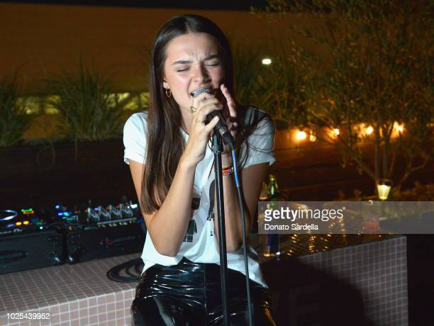 Charlotte Lawrence performs at the KARL LAGERFELD x KAIA launch with REVOLVE hosted by Kaia Gerber at Revolve Social Club on August 30 2018 in Los...