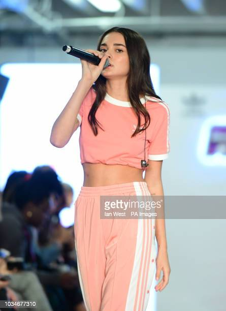Charlotte Lawrence performs on the catwalk during the Hailey Baldwin x Falcon London Fashion Week SS19 show held at Victoria House London Picture...