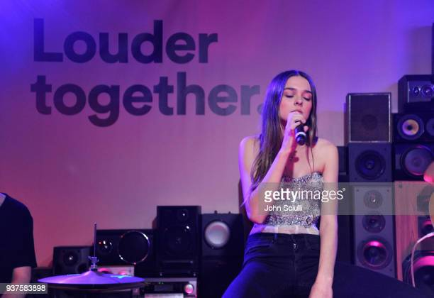 Charlotte Lawrence performs onstage at Spotify's Louder Together event celebrating the first ever collaborative Spotify single with Sasha Sloan Nina...