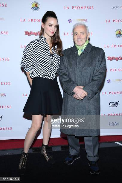 Charlotte Le Bon and Charles Aznavour attend 'The Promise La Promesse' Premiere at Publicis Champs Elysees on November 21 2017 in Paris France