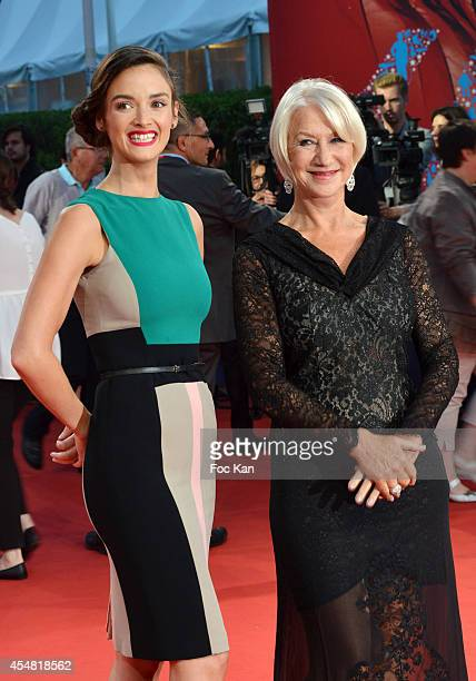 Charlotte Le Bon and Helen Mirren arrive at 'The Hundred Foot Journey' premiere at the 40th Deauville American Film Festival at the CID on September...