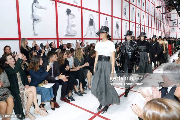 Charlotte Le Bon Jeanne Damas Johannes Huebl his wife Olivia Palermo Karlie Kloss and Jennifer Lawrence attend the Christian Dior show as part of the...