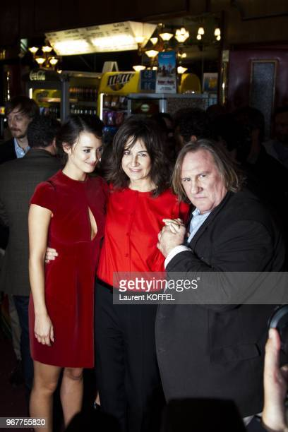 Charlotte Le Bon Valerie Lemercier and Gerard Depardieu attend at 'Asterix et Obelix au service de sa majeste' film premiere at 'Le Grand Rex' on...