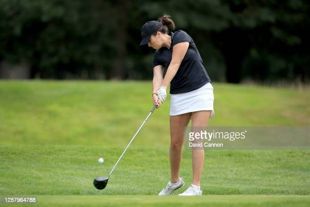 Charlotte Leathem of England plays her tee shot on the second hole during The Rose Ladies Series at Bearwood Lakes on July 23 2020 in Wokingham...