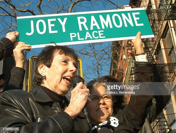 Charlotte Lesher Joey Ramone's mother during Street Renaming at the Corner of 2nd Street And Bowery to Joey Ramone Place Honoring the Late Punk Rock...