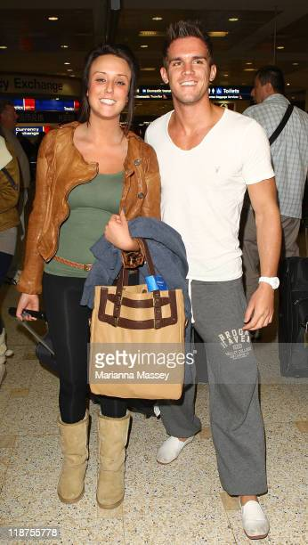 Charlotte Letitia Crosby and Gaz Beadle of UK Reality TV show Geordie Shore arrive at Sydney Airport on July 11 2011 in Sydney Australia